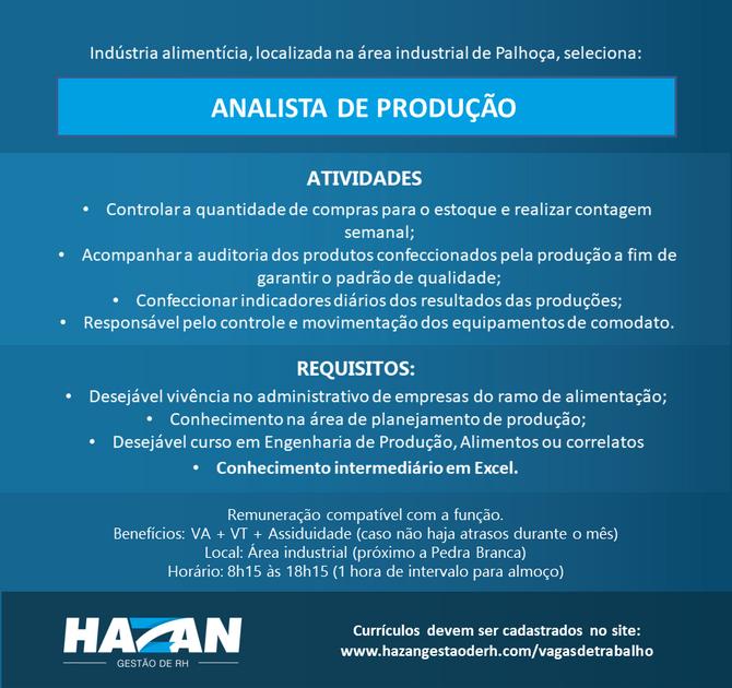 Analista de Produção