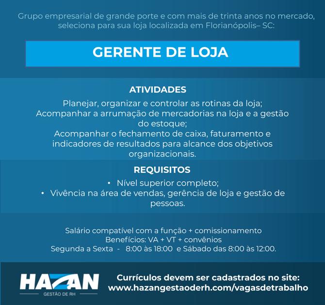 Gerente de Loja - Florianópolis
