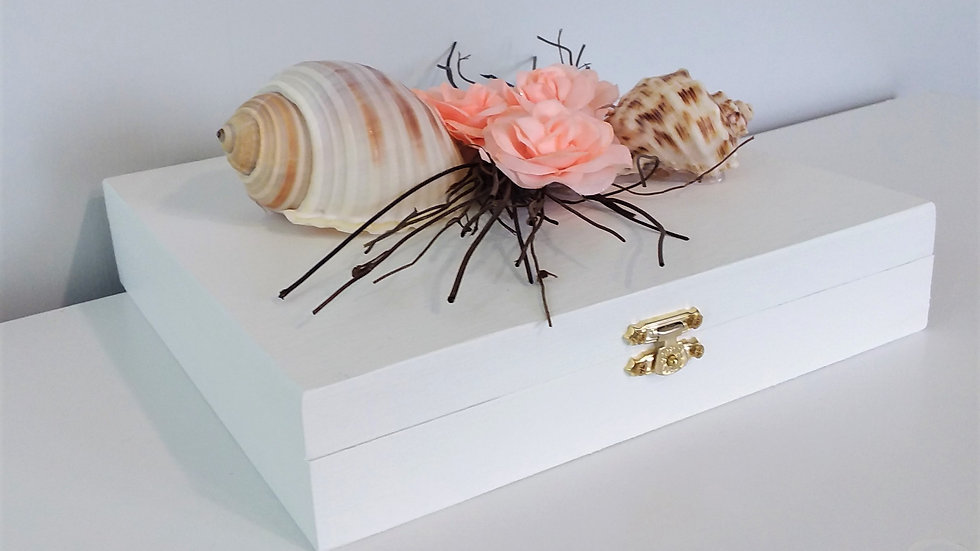 White Seashell Memory Box, Keepsake Box, Wedding Seashell Box