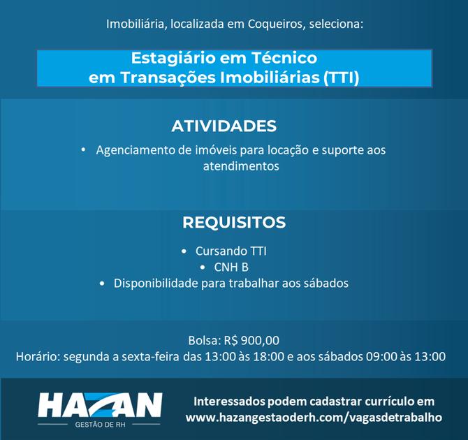Estagiário em Técnico em Transações Imobiliárias (TTI)