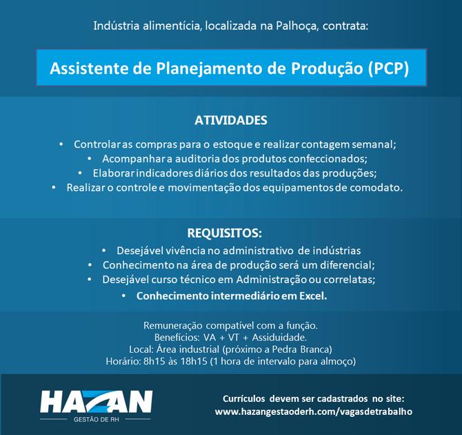 Assistente de Planejamento de Produção (PCP)