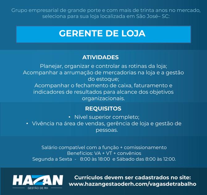 Gerente de Loja - São José