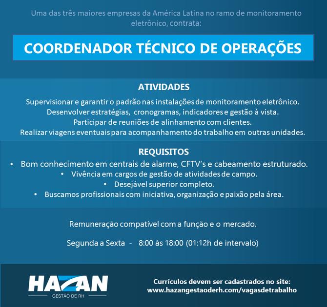 Coordenador Técnico de Operações (Grande Florianópolis)