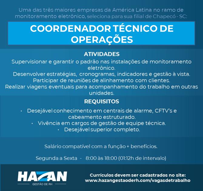 Coordenador Técnico (Chapecó - SC)