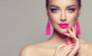 Beautiful model girl with pink fuchsia m