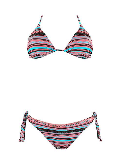 Bikini Triangolo Righe Ricamo