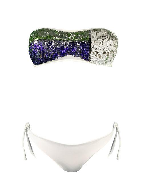 Bikini Fascia Paillettes Verde Viola