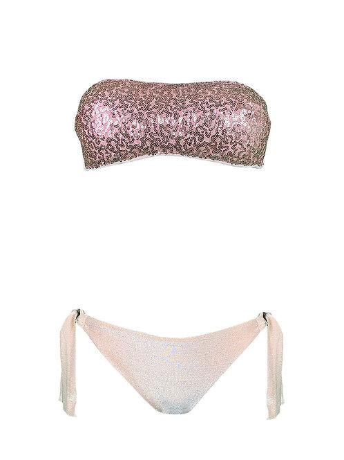 Bikini Fascia Paillettes Lurex Rosa Cipria