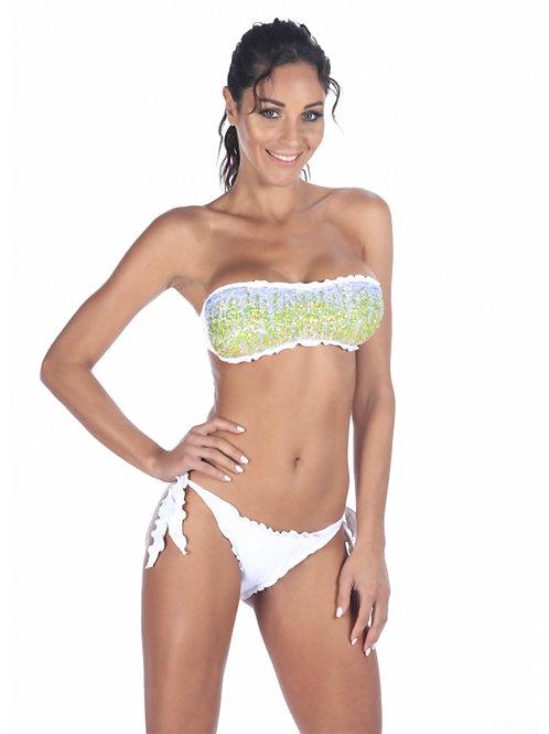 Bikini Fascia Bianca Con Paillettes Sfumate Verdi