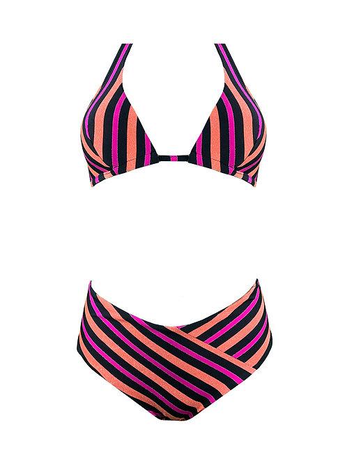 Bikini Triangolone Righe Lurex