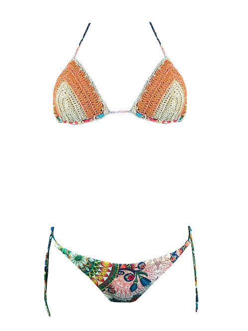 Bikini Triangolo Uncinetto oro/arancio
