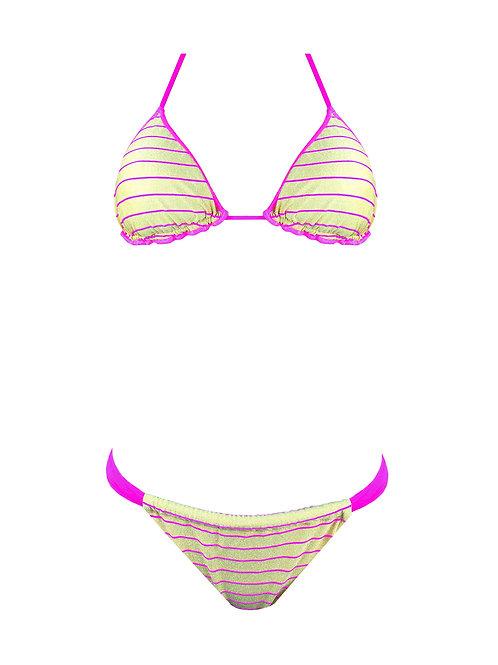 Bikini Triangolo Oro Righe Fluo