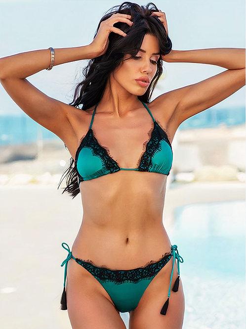 Bikini Triangolo Verde Smeraldo Con Pizzo