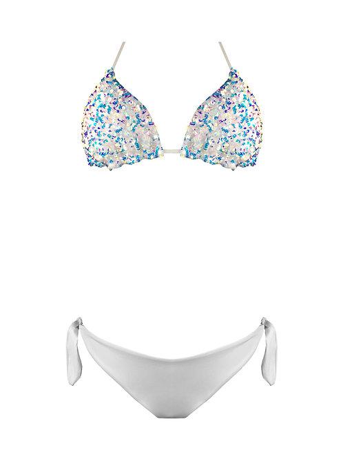 Bikini Triangolo Paillettes Arcobaleno