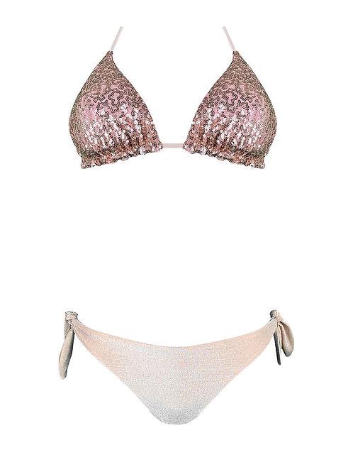 Bikini Triangolo Paillettes Lurex Rosa Cipria