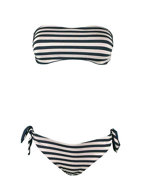 Bikini Fascia Righe Oro Nero