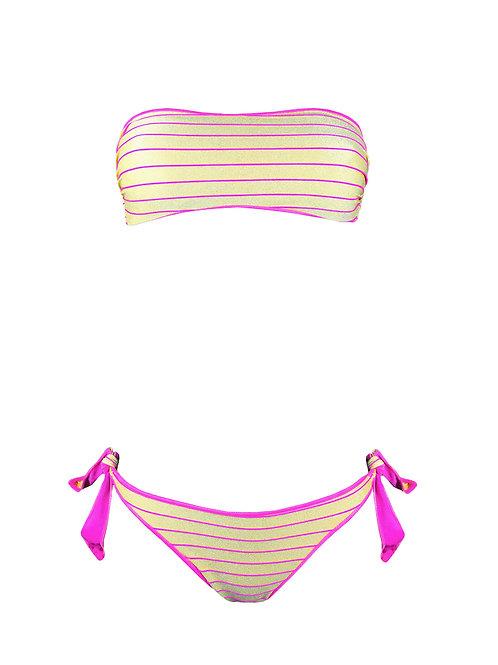 Bikini Fascia Oro Righe Fluo