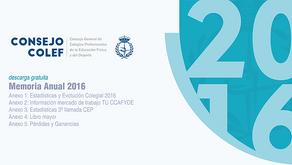 Memoria Anual 2016 del Consejo COLEF