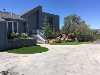 Front Drive Way with Artificial Turf