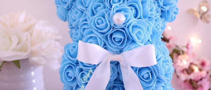 """10"""" Blue Rose Bear"""