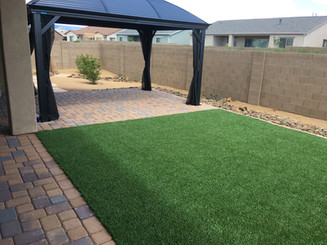 Artificial Turf and Pavers with Gazebo