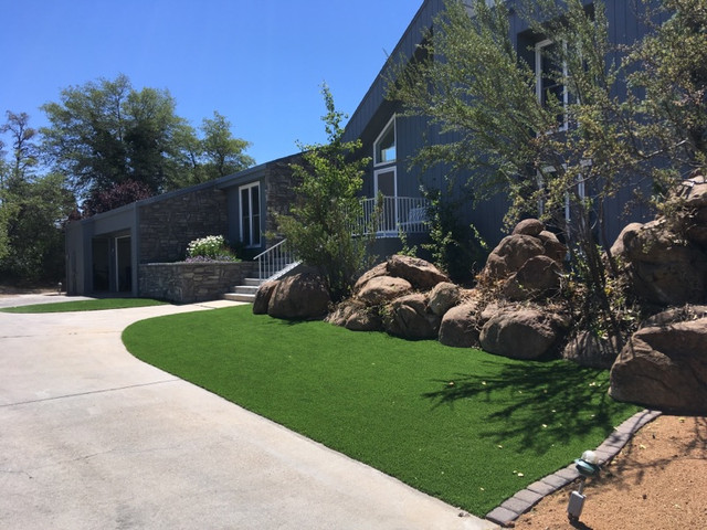 Artificial Turf Along the Drive Way