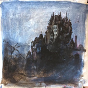 Dark castle, Acrylic on Frozen-Pizza Box