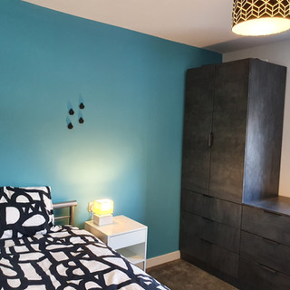 Student bedroom with magnetic plaster walls