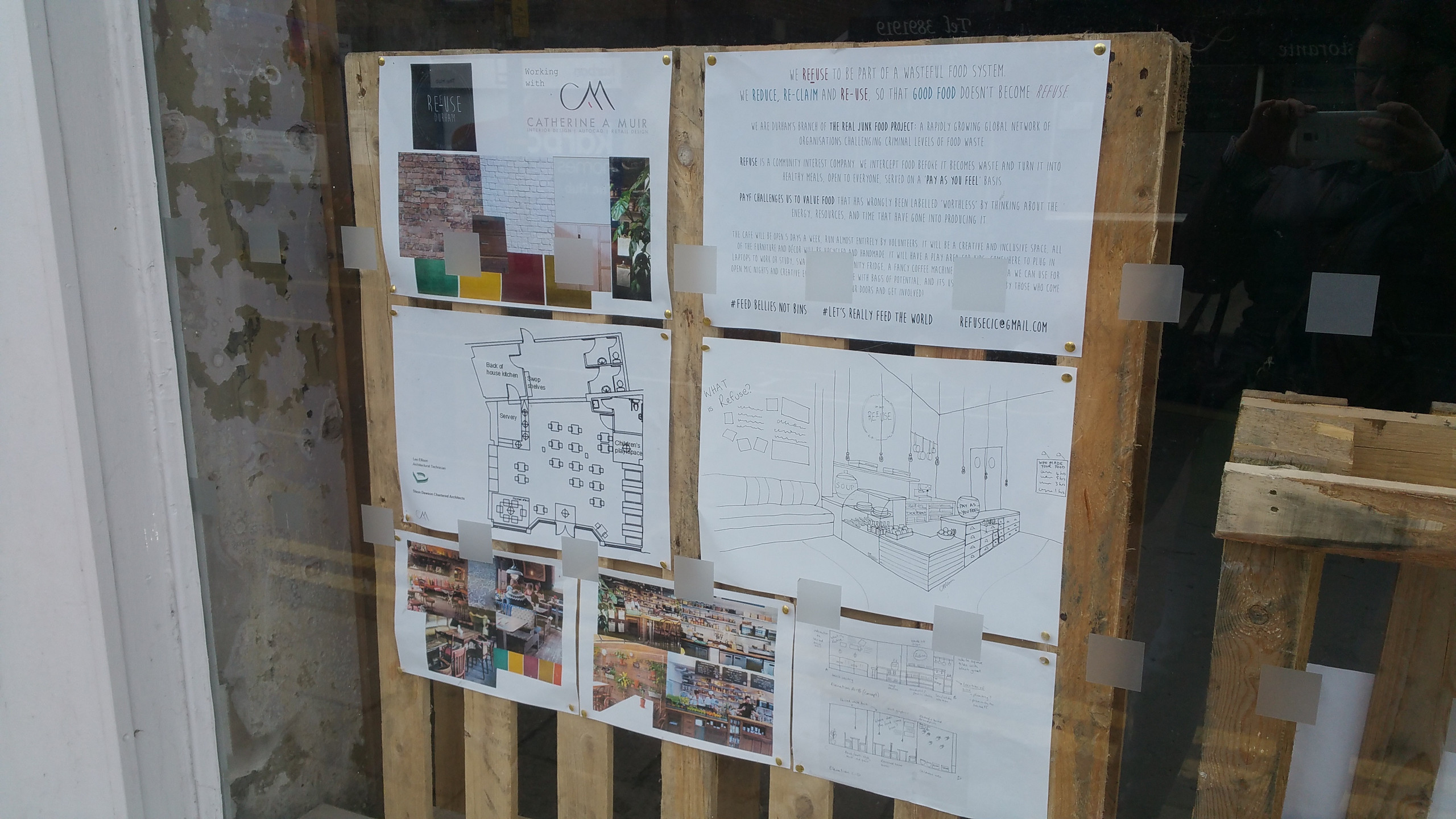 The plans on display in the window