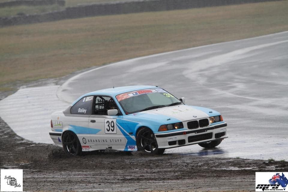 David Bailey spins on a wet track at Wakefield Park Raceway.