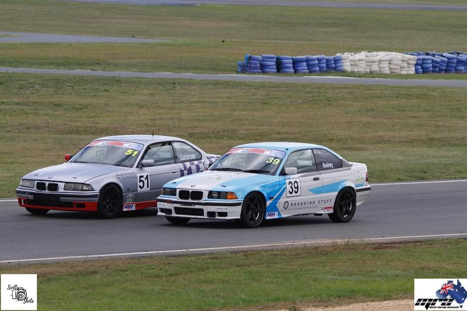 Paul Stanbrook and David Bailey dicing for position at Wakefield Park Raceway.
