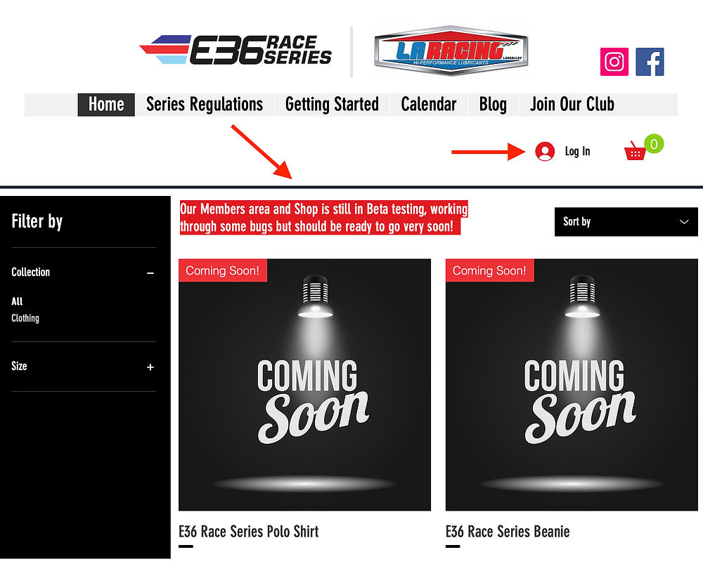 An image of the new E36 Race Series online Shop.