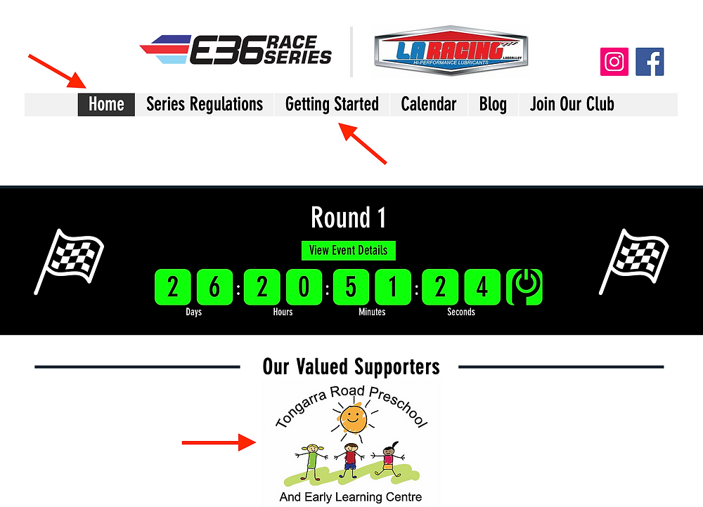 An image taken of the E36 Race Series home page.