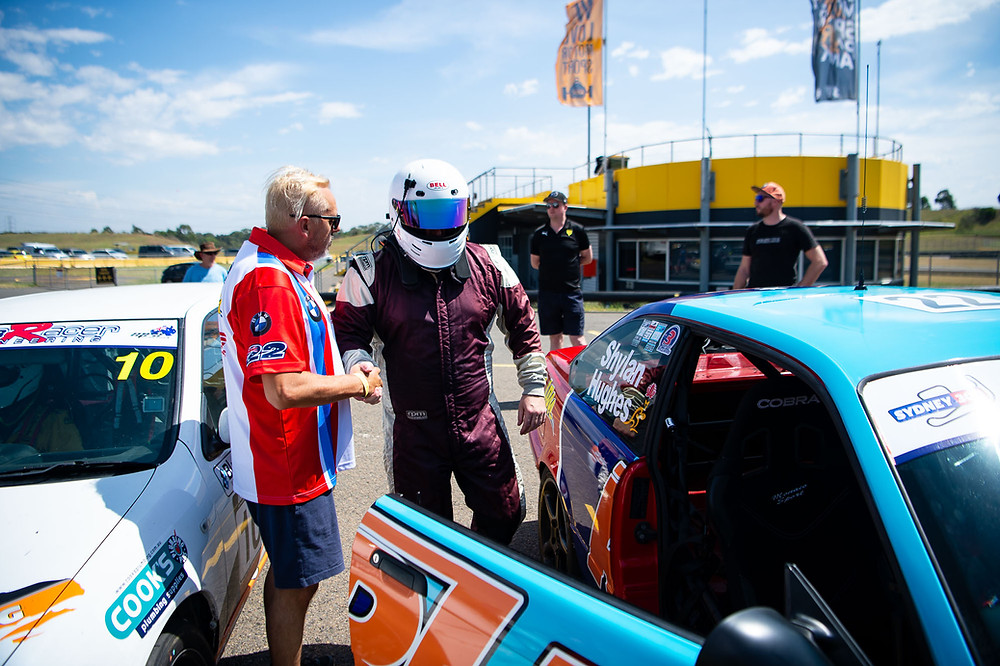 Adam Hughes and Matt Shylan on the dummy grid of the Sydney 300.