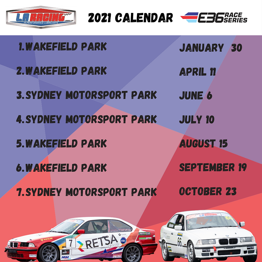 A photo of the 2021 race dates for the E36 Race Series.