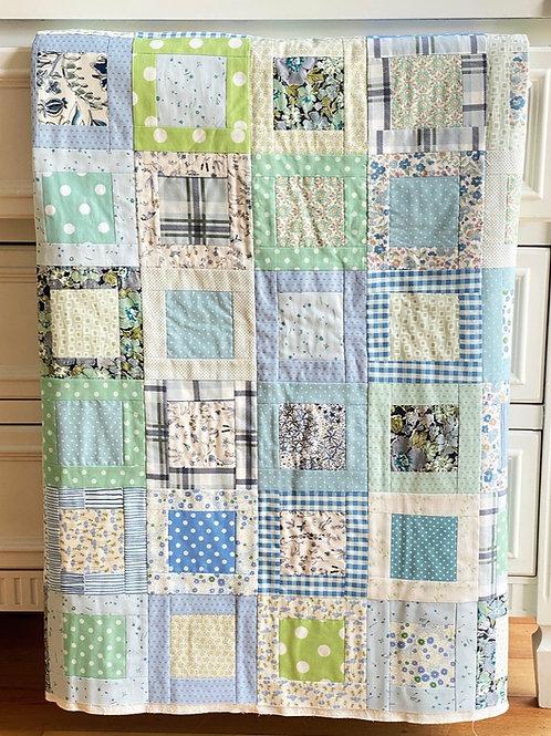 Square Inside a Square Blue & Green Fabric Bundle