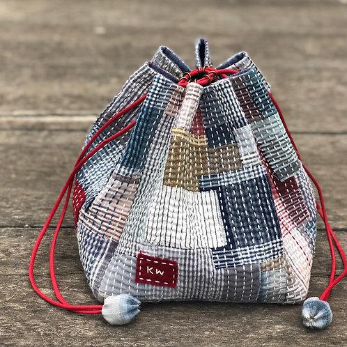 Kinchaku Draw String Bag Kit - New Woven Plaid Style