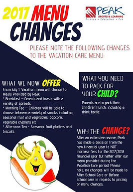 Vacation Care Menu Changes