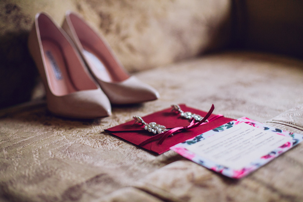 Wedding Shoes, earrings and invitation
