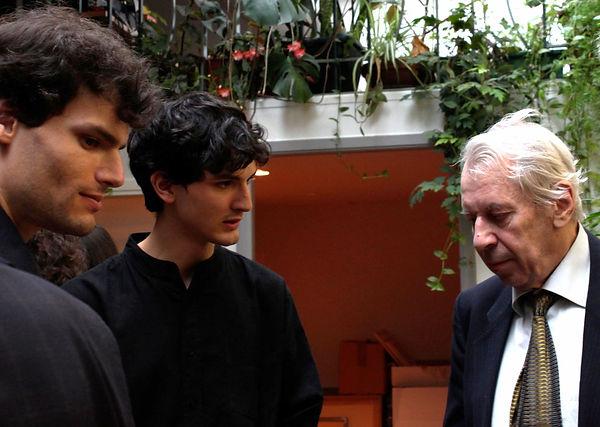 Boris Tishchenko avec Gabriel et Dania Tchalik, à l'Assocation Internationale Chostakovitch à Paris