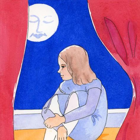 Emily sat by her bedroom window