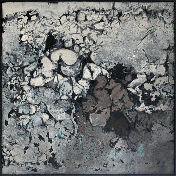 100 x 100 cm mixet media on canvas, deep black frame AVAILABLE
