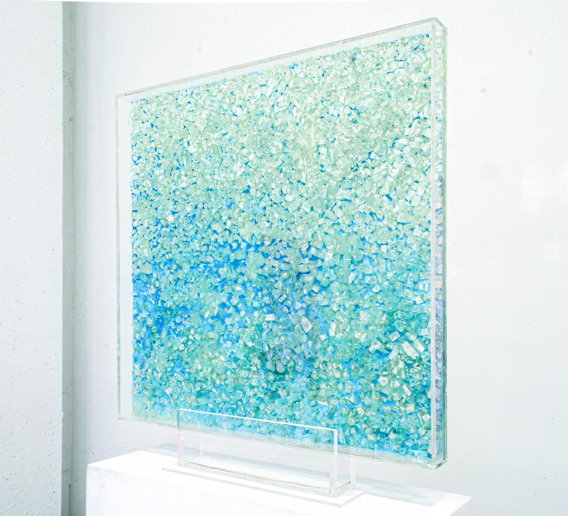 ICE CRUSH Acrylic paint, canvas, glass, resin 50x50x6cm AVAILABLE