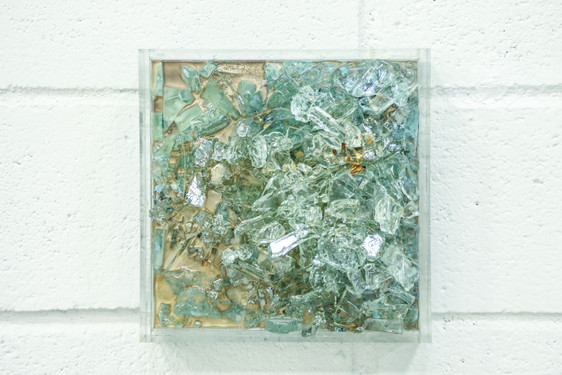 BENEATH THE SURFACE Acrylic paint, canvas, glass, resin 20x20x6cm AVAILABLE