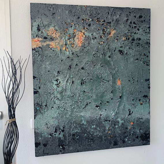 STAR DUST TAIKAYÖ on the wall   100 x 120 cm mixed media on canvas
