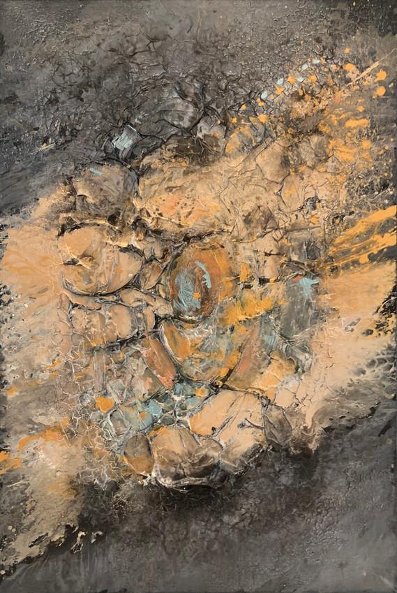 SUNRAYS OF LOVE RAKKAUDEN SÄTEET 135 x 200 cm mixed media on canvas  AVAILABLE