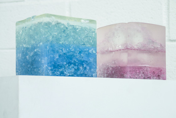 Acrylic paint, canvas, glass, resin Private collection