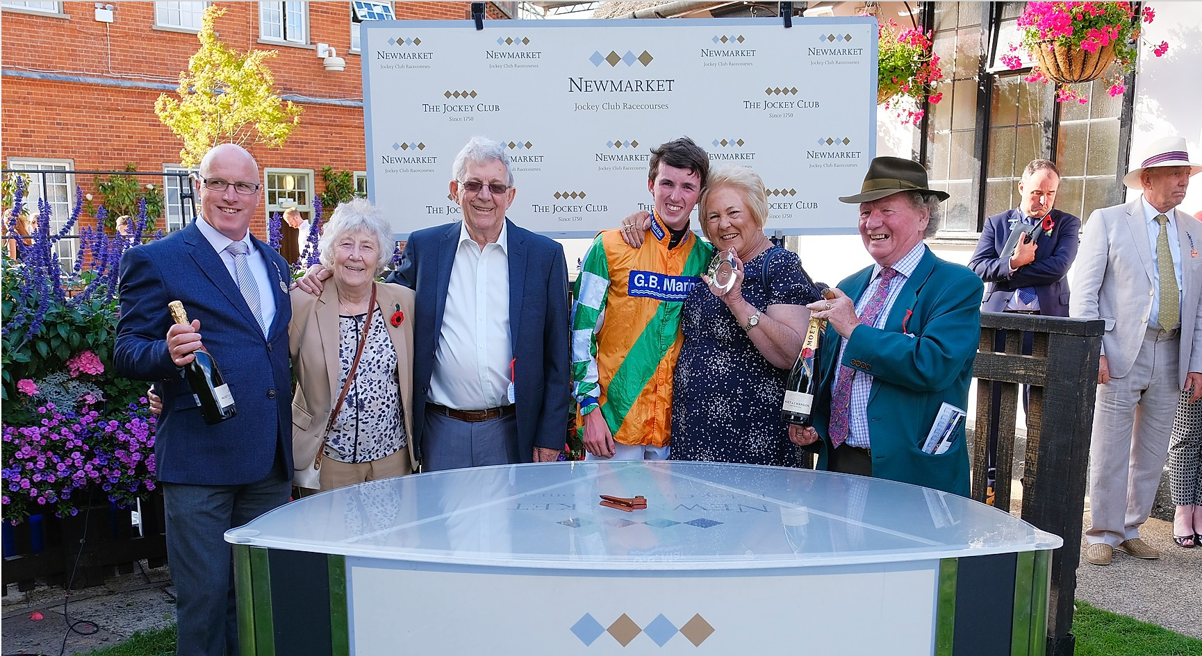 Owners Graham and Lynn Knight, Robert, Darragh Keenan and connections after Graceful Lady's win at the July Course