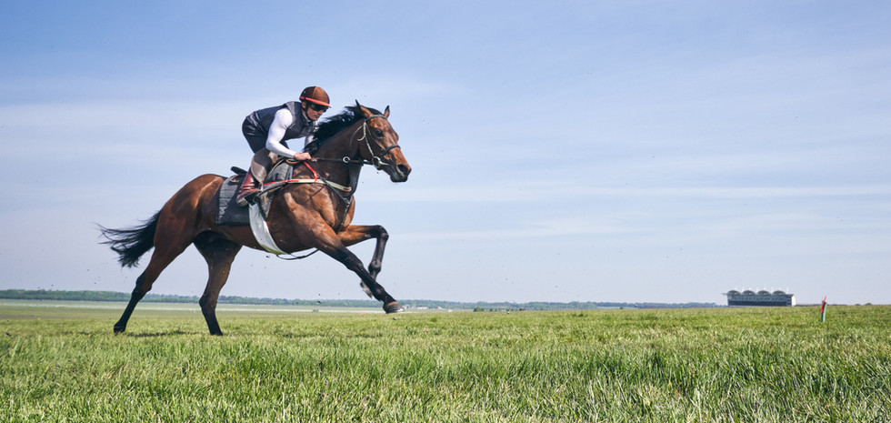 Eevilynn Drew and Andrea Atzeni with the Rowley Mile in the background