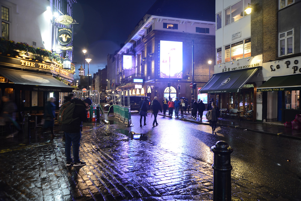 Soho at night. My favourite Italian cafe on the right. Its been there since the 1950s. I thought I would be a treat for Jeannie but it turned out she'd been there before.